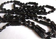 VINTAGE ART DECO 1920 S BLACK CZECH ERA GLASS BEADS LONG BEADED NECKLACE