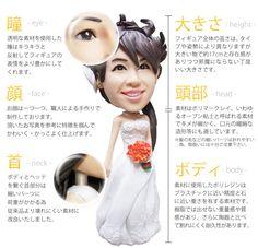 結婚式用のウエディングフィギュア オーブン粘土で出来た顔はすべすべ、透明な素材を使った瞳が表情に奥行を感じさせます。女性スタッフがチーク等のメイクを施し完成させるので可愛い雰囲気に仕上がります。 Thing 1
