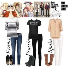 Hetalia ~ France, Prussia and Spain Casual Cosplay, Cosplay Outfits, Anime Outfits, Cosplay Ideas, Cosplay Costumes, Anime Inspired Outfits, Character Inspired Outfits, Hetalia Cosplay, Anime Cosplay