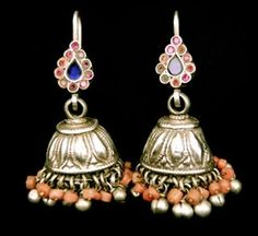 Pair of antique silver and coral earrings from Uzbekistan, inlaid with pink and blue glass
