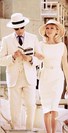 """Pack you and your future Mr.'s honeymoon suitcases with these threads as inspiration, or just throw a swimsuit and sunblock in a carry-on and call it a day.  [Kirsten Dunst, Viggo Mortensen in """"The Two Faces of January"""" (2014)]"""