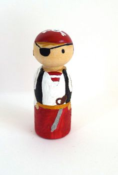 Wooden Peg Doll Pirate by abbyjac on Etsy