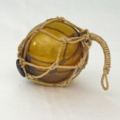 "5.95-4"" Vintage-Style Glass Floating Ball Buoy With Rope 