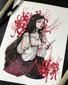 Margaret Morales is a visual designer, painter and watercolor artist from Philippines. Art And Illustration, Watercolor Illustration, Anime Art Fantasy, Art Drawings Sketches, Cool Drawings, Arte Copic, Character Art, Character Design, Anime Kunst