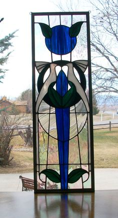 Stained Glass Love Birds Panel