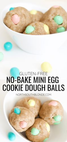 These mini egg cookie dough balls are easy to make, no-bake, gluten-free, and filled with chocolate Cadbury Mini Eggs. A perfect snack or dessert and a fun Easter activity for the kids! | Snacks | Desserts | Easy recipes | Easter | Toddler Activities | Kid Friendly | Toddler Food | No Bake | Eggless | Safe to Eat | Easter Cookies | Cookie Balls | Easter Eggs | Spring and Easter | Easter Desserts | Edible Dough | Pastel colours | Chocolate | Mini Eggs Cookies, Easter Cookies, No Bake Cookies, Real Food Recipes, Great Recipes, Easy Recipes, Dessert Recipes, Favorite Recipes, Easter Snacks