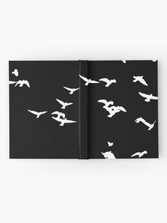 'Flying Birds, black and white pattern' Hardcover Journal by cool-shirts