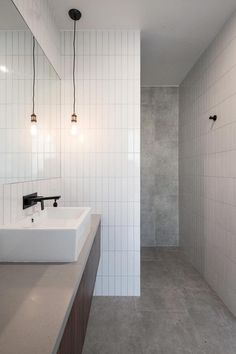 Carlyle Lane House by Harley Graham Architects 10 Grey Bathroom Tiles, Bathroom Renos, Bathroom Layout, Bathroom Interior Design, Bathroom Renovations, Home Renovation, Modern Bathroom, Small Bathroom, Bathroom Ideas