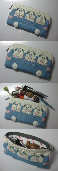 pencil case Pencil Bags, Pencil Pouch, Pouch Bag, Diy Pencil Case, My Bags, Purses And Bags, Pochette Diy, Bag Patterns To Sew, Little Bag
