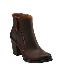 Clarks Mission Alfa  The heels may be three inches high, but their chunky block shape will keep you steady and comfortable. Also in black leather and taupe distressed leather. $150