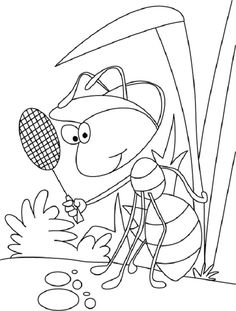ant and grasshopper coloring pages