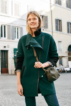 madewell city grid coat + the mini glasgow crossbody bag worn by our muse constance jablonski in our fall catalog shot in rome. #everydaymadewell