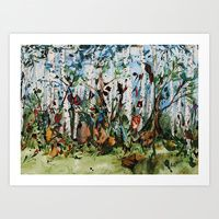 Eloise's Fox Art Print by Clarissa Jan Ward available in several sizes. This fantasy scene includes a fox, and various other woodland inhabitants such as birds and fairies. #nursery #fox  #birchtrees #artforchildren