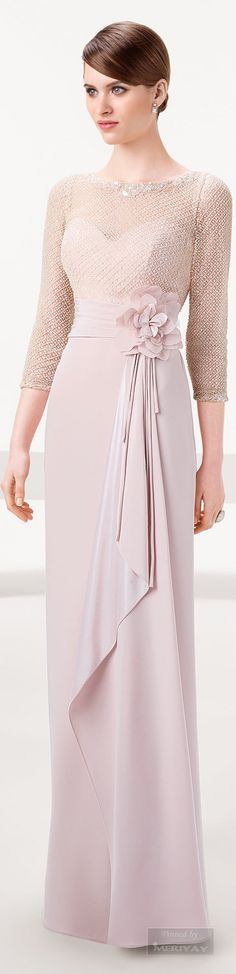 Pastel Colored Mother of the Bride Evening Dress | Three Quarter Length Sleeve Evening Gown for Mother-of-the-bride | --- We can produce an affordable replication of this design for you in any size or with any changes | --- Our American dress design firm specializes in inexpensive custom formal dresses & affordable replicas of haute couture evening gowns ~ We can work from any photo you provide. | www.dariuscordell.com
