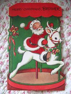 Vintage Xmas  Greeting Card   Santa Riding   Reindeer  CAROUSEL Flocked