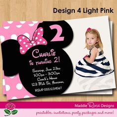 Minnie Mouse Birthday Invitation Printable By MaddieRoseDesignz 750 Invitations