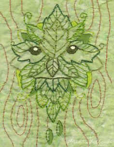 Green Man Embroidery Pattern PDF download hand embroidery patterns designs by littledear on Etsy https://www.etsy.com/listing/108675622/green-man-embroidery-pattern-pdf
