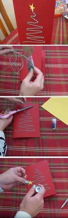 Twine Tree | 20 + DIY Christmas Cards for Kids to Make