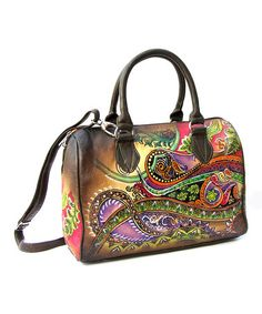 Another great find on #zulily! Brown Paisley Hand-Painted Leather Satchel by Biacci #zulilyfinds