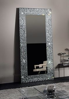Diy bling out your mirror buy any cheap framed mirror for Long stand up mirror