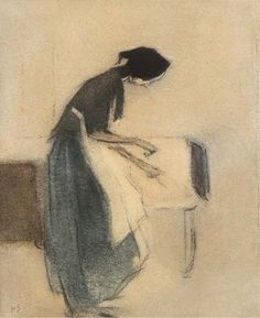 Helene Schjerfbeck (1862-1946, Finnish) - At the Hearth
