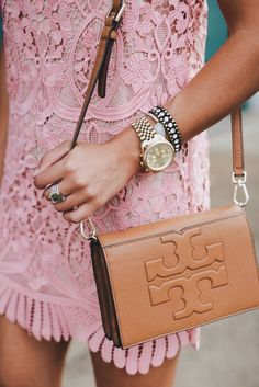 Camel leather Tory Burch bag with a pink lace dress - Sale! Up to 75% OFF! Shop at Stylizio for women's and men's designer handbags, luxury sunglasses, watches, jewelry, purses, wallets, clothes, underwear