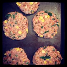 Super Easy Healthy Burgers!!              Take ground turkey or chicken breast, mix with a handful of cooked quinoa, roughly a cup of lentils, egg whites, chopped up kale, corn, and a dash of seasonings (you pick).   Mix together in a large bowl  Baked in the oven @ 350 for 20-25 minutes.   Full of different protein sources and fibre!  (you can leave corn out if you want, I had some to get rid of in the freezer)