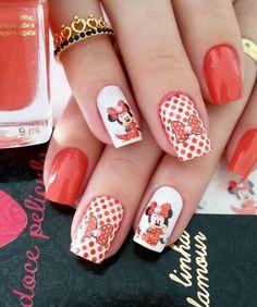 Películas ou Adesivos de Unhas Modelo Minnie com Pérola Minnie Cake, Mickey Minnie Mouse, Cute Nails, Pretty Nails, Finger Nail Art, Disney Nails, Nail Decorations, Cute Nail Designs, Red Nails