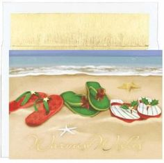 Christmas Flip-Flops Holiday Christmas Card - Off! 18 Cards / 18 White, Gold-Foil Lined Envelopes Special Process: Gold Foil Size: X Verse: With Warmest Thoughts And Best Wishes For A Wonderful Holiday Season! Tropical Christmas, Beach Christmas, Coastal Christmas, Christmas Holidays, Christmas Decorations, Boxed Christmas Cards, All Things Christmas, Holiday Cards, Beach Cards