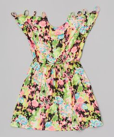 Another great find on #zulily! Pink Neon Rose Cutout Sleeveless Dress - Girls by Girls Luv Pink #zulilyfinds