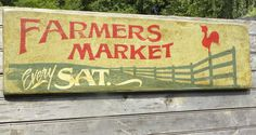 "Farmers Market Sign, original , hand painted. ""faux"" vintage, sign,art,wooden sign. $68.00, via Etsy."