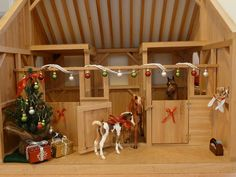 Model Horse Barn Decorated For Christmas