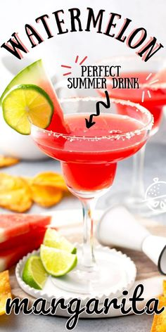 This Watermelon Margarita recipe is the perfect refreshing drink to sip during the summer months. With only 5 ingredients, this incredibly tasty cocktail has the fruity and sweet taste of fresh watermelon, a bit of zing from fresh lime juice and of course your favorite tequila! #lemonblossoms #FarmersMarketWeek #drinks #cocktails #recipe Iced Tea Recipes, Easy Drink Recipes, Sangria Recipes, Margarita Recipes, Tart Recipes, Coffee Recipes, Summer Months, Summer Fun, Watermelon Margarita