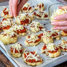 Roasted Cauliflower Pizza Bites | Clean Food Crush Cauliflower Pizza Bites, Cauliflower Cheese, Roasted Cauliflower, Food Crush, Quick Snacks, Healthy Options, Clean Recipes, 4 Ingredients, Tray Bakes
