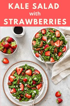 Kale, strawberries, feta, and pecans are tossed in a sweet balsamic dressing to create the perfect summer salad. Recipe by Charmer Kitchen. #californiastrawberries #kalesalad #saladrecipe #strawberrykalesalad #healthyrecipes #healthymeals #summersalad #easyrecipes #simplesalad Strawberry Kale Salad, Healthy Strawberry Recipes, Healthy Recipes, Easy Salads, Summer Salads, Easy Meals, Balsamic Dressing, Caprese Salad, Food Print