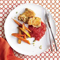 Roast Chicken Thighs with Tomato-Tapioca Porridge