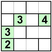 Number Logic Puzzles: 20734 - Bricks size 4