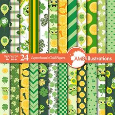 Lucky Leprechaun digital papers digital by AMBillustrations
