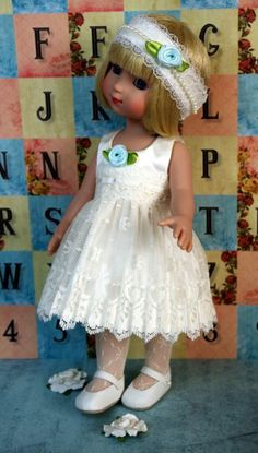 """~AQuA and LaCe~...a dress & matching hairband for Tonner Patsy, Ann Estelle, or Sophie 10"""" DoLLs. Newly created with care and at my ebay this week with a buy it now price and FREE SHIPPING! Also fits Tonner Georgia and Tonner Petite Fille. Click the picture to take you to the listing."""