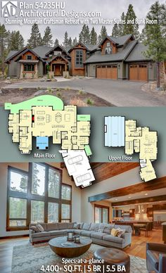 Stunning Mountain Craftsman Retreat with Two Master Suites and Bunk Room Architectural Designs Rugged and Rustic House Plan gives you 5 bedrooms, baths and sq.Architectural Designs Rugged and Rustic House Plan gives you 5 bedrooms, baths and sq. Rustic House Plans, Craftsman House Plans, New House Plans, Dream House Plans, House Floor Plans, Craftsman Ranch, 5 Bedroom House Plans, Rustic Lake Houses, Rustic Houses Exterior