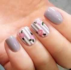 Try out something different for every one of your nails and you will be surprised. You may also customize your nails a lot simpler. In the event the nail is short it is far better to go for a design acceptable for that nail. Fake nails may also have art. Fancy Nails, Trendy Nails, Pink Nails, Nailart, Floral Nail Art, Stripe Nail Art, Gray Nail Art, Striped Nails, Nail Swag