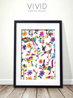 Otomi embroidery inspired digital print for instant download.