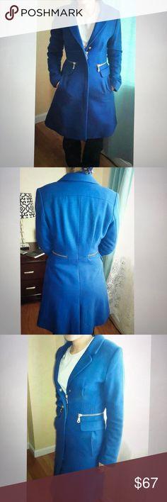 Runaway Blue Zippered H&M wool Coat Peacoat Jacket New Runaway Blue Zippered H&M wool Coat Peacoat Jacket, size 6 H&M Jackets & Coats