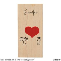 Cute boy and girl in love doodle wood USB flash drive