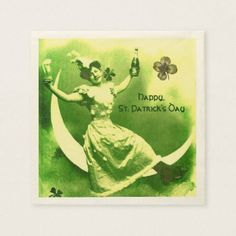 ST PATRICK'S DAY MOON LADY WITH SHAMROCKS MONOGRAM NAPKIN - artists unique special customize presents
