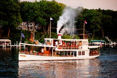 Steam Yacht Louise in motion! Lake Geneva, Wisconsin