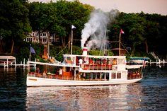Steam Yacht Louise in motion! Lake Geneva, Wisconsin