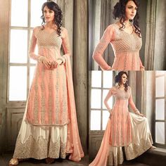 - NEW ARRIVAL ✨ Checkout our gawjus new 'Peach and Cream Embrroidered Palazzo Suit' - semi-stitched, stitched Punjabi Dress, Pakistani Dresses, Indian Dresses, Indian Outfits, Islamic Fashion, Indian Fashion, Bridal Anarkali Suits, Moslem Fashion, Eastern Dresses