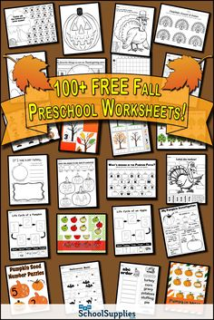 Over 100 FREE Fall Preschool Worksheets! Our fall preschool printables include alphabet worksheets, tracing worksheets, coloring worksheets, matching, counting, and more! Get the FREE fall printables here --> https://www.mpmschoolsupplies.com/ideas/worksheets/fall/preschool/