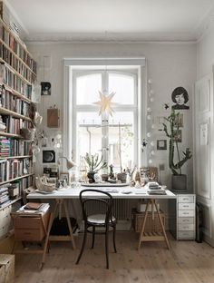 Office Room Interior Home - Office Home Office Space, Home Office Design, Home Office Decor, House Design, Design Design, Nordic Design, Office Desk, Nina Persson, Home Office Inspiration